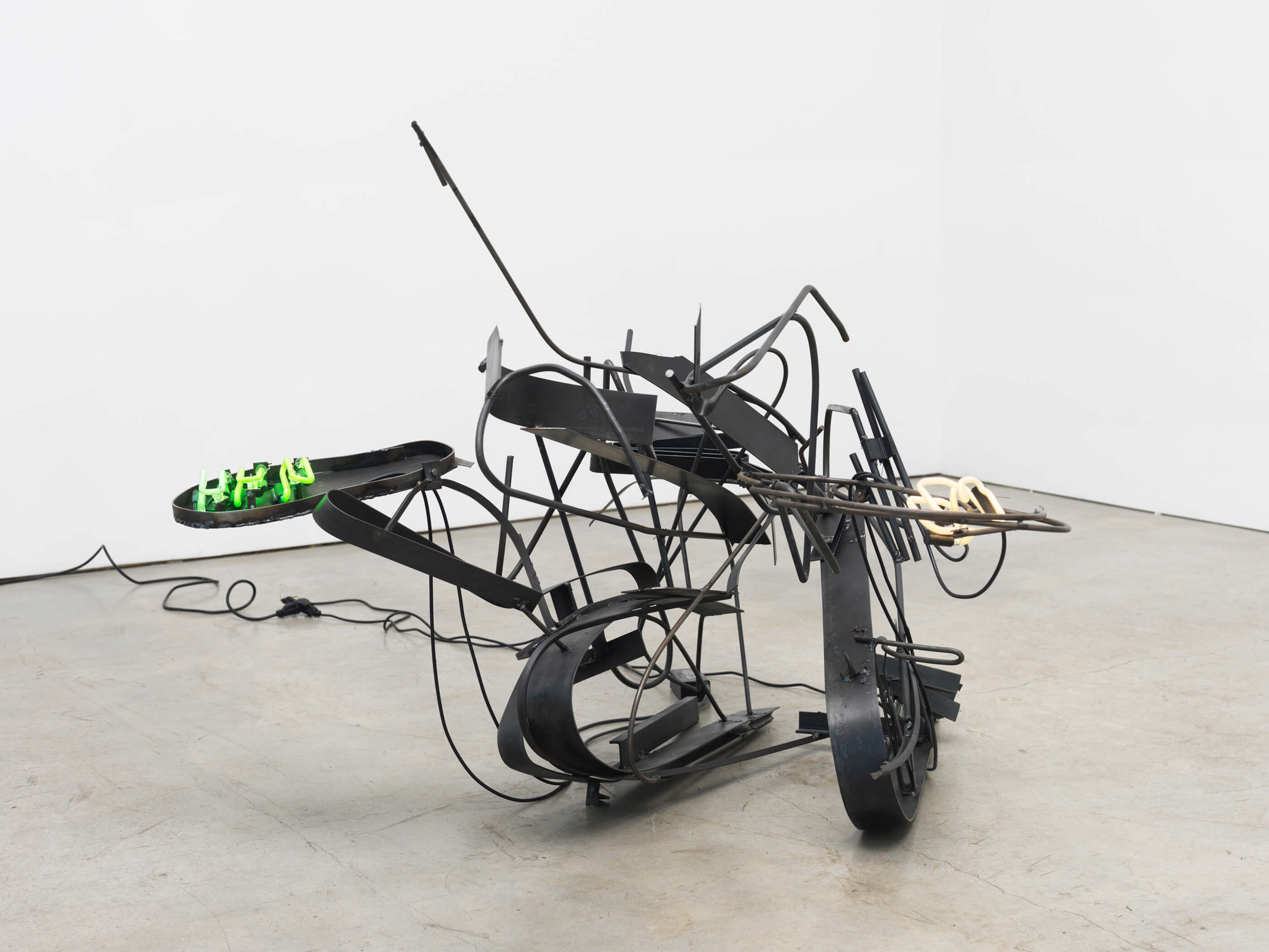 Hors d'oeuvres, Steel, neon, transformers, GTO cable, electric cable, 2 x 5 x 4.5 feet, 2015