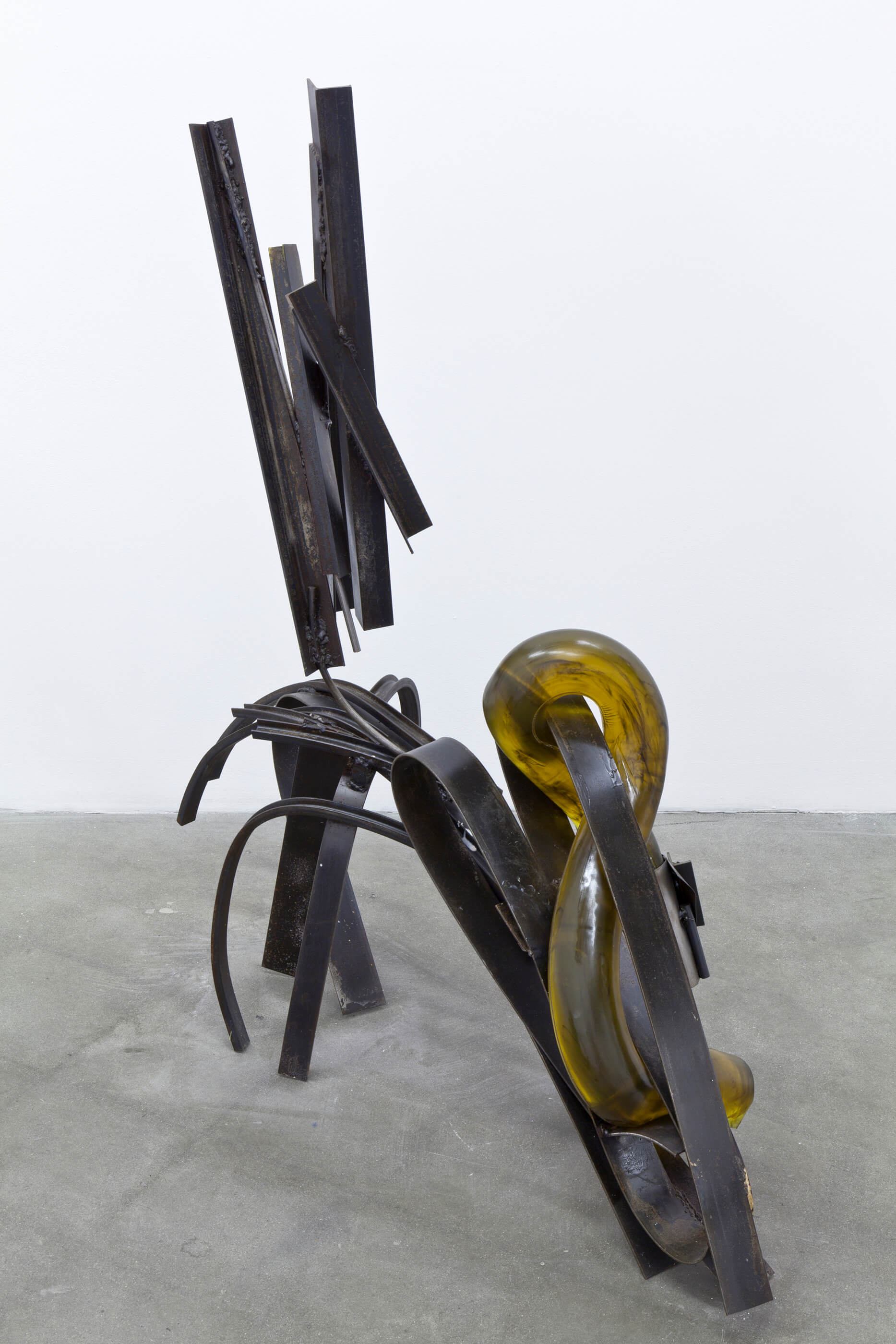 Larger crawler, amber, with cuff, Steel, urethane rubber, 48 x 46 x 16 inches, 2014