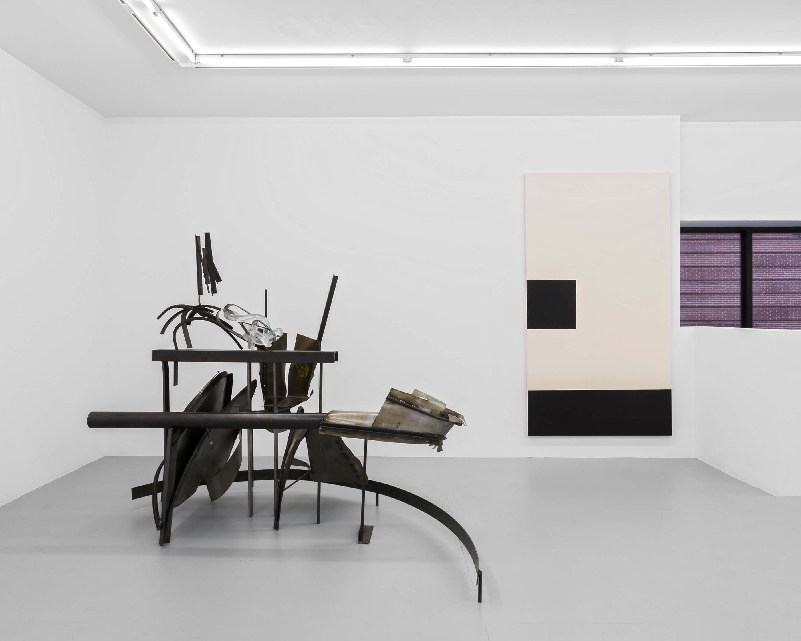 Levels (with steel and rubber crawler, clear), Steel, urethane rubber, 48 x 72 x 56 inches, 2014